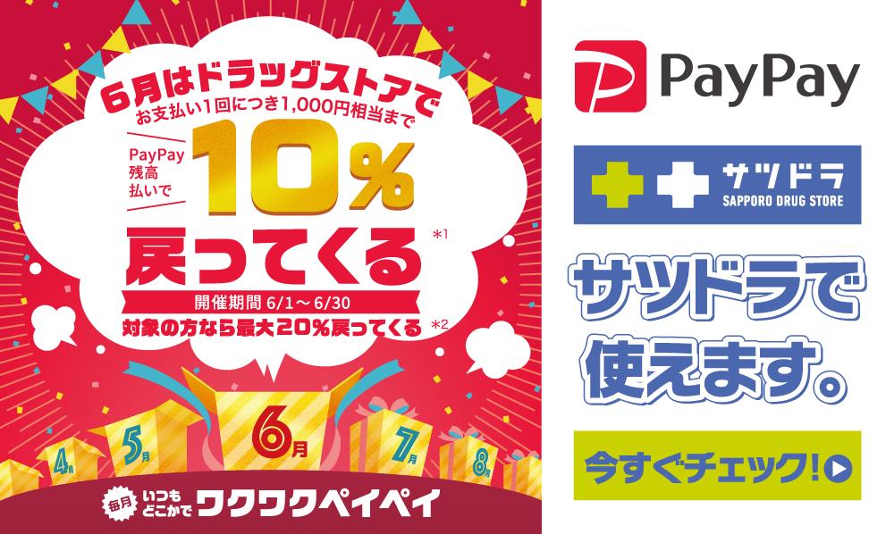 6月はドラッグストアで!PayPay残高払いで10%戻ってくる!